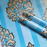 Damask stripe blue 45 cm x 10 mtr ~ Wallpaper sticker dinding