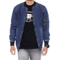 Juns Jaket Jeans Pria Bomber Jeans Polos The