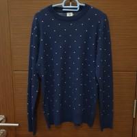 Sweater Rajut Pria Navy Motif