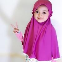 Jilbab Anak Jersey Super Pet Renda Bayi Balita Muslim Adem 2-5 Tahun