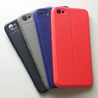 Case Autofocus Xiaomi Redmi Note 5A Skin Leather Soft Backcase Casing - Merah