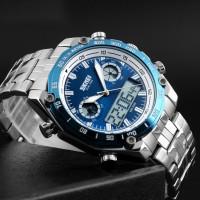 Najwa SKMEI 1204 Dual Dsplay Digital Watch Men Stainless Steel Strap