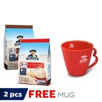 Quaker 3 in 1 Original & Cokelat Pouch 7S - 2 Pcs FREE Quaker Mug
