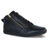 Atmal - Sepatu Sneakers Pria D09 Black Kulit - Hitam, 38