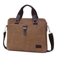 Tas Laptop Selempang DXYIZU Canvas Stylish Briefcase 14 inch - Brown
