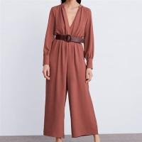 Red Wrap Jumpsuit with Belt size S M L -26362