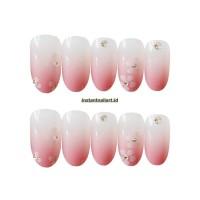 NA-523 Pink White Flower Simple Gradient Fake Nails Kuku Palsu Cantik