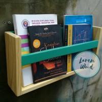 rak dinding buku/majalah kayu jati belanda - Natural TERBARU