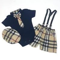 Promo Baju Bayi Laki-Laki Jumper Dasi Set Celana Suspender Dan Topi