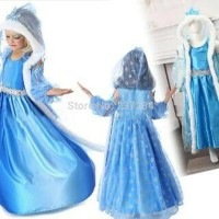 TERLARIS Baju Dress Kostum Frozen Jubah Winter - 110 TERMURAH
