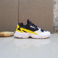 Sepatu Sneakers Adidas Falcon Black White Yellow Original