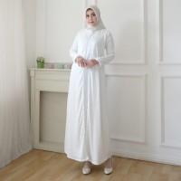 AGNES Baju Gamis Wanita Gamis Brukat Gamis Putih Baju Muslim #10820