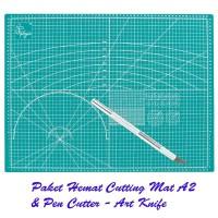 [Paket Hemat] Cutting Mat A2 Double Side & Pen Cutter Design Knife