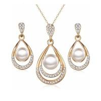 Set Perhiasan Mutiara Liontin Anting-anting Kristal Ladies Kado Ultah