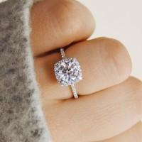 Cincin Berlian Lapis Emas Putih Imitasi Batu Zircon Silver Kotak J9115