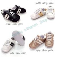 Sepatu Bayi Impor Prewalker Shoes Anak Lakilaki Perempuan Putih Strip