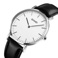 Jam Tangan Pria / SKMEI 1181 Leather / Jam Tangan Analog / SILVER HTM