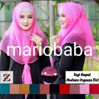 Mariobaba AA759- B hijab jilbab segiempat MUTIARA organza dot