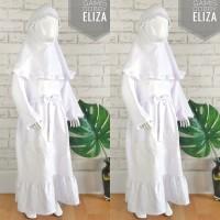 (3-4T) Gamis Putih Anak Paud TK 3-4 Tahun Bahan Dobby Bordir Eliza