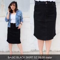Rok Jeans Wanita Basic Black Skirt Super Big Size