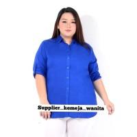 Kemeja Wanita Terlaris Basic Rayon Biru BCA Jumbo LD 118 cm XXL