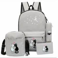 TERLARIS Tas Sekolah Anak Perempuan 4 in 1 Backpack Slingbag Pouch
