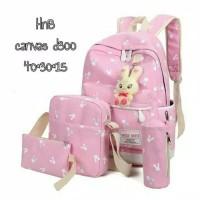 TERBARU Tas Sekolah Anak Perempuan 4 in 1 Backpack Slingbag Pouch