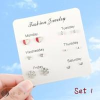 Anting One week Korea simple creative earrings 1 set isi 6 pcs