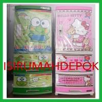 Lemari Plastik Anak Napolly Hello Kitty Keropi + Kunci + Roda