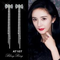 Anting Import Korea Model Panjang Diamond Hewan Pearl