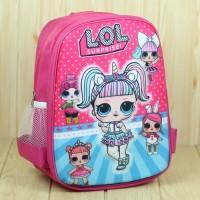 Tas Gendong Anak Cewek Motif LOL Pink Embos Halus Ransel Sekolah TK SD