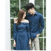 Couple denim ECL Dress kemeja bahan jeans wash