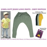 JOBEL SOFT JEANS LONG PANTS KAZEL CELANA PANJANG ANAK BAYI-BELLA SHOP - GREY ED XL