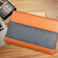Tas Laptop Softcase Sleeve Felt with PU Brown 13 -13.3 inch free pouch
