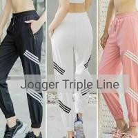 Celana Senam Jogger Olahraga Wanita Triple Line