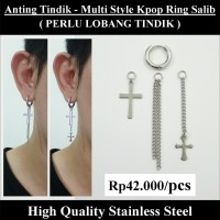 Anting Tindik Cowok Pria - Multi Style KPOP Ring Salib