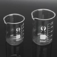 Promo 2Pcs 400ml 600ml Beaker Set Graduated Borosilicate Glass