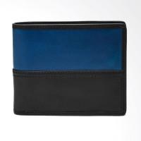 Fossil Tate Leather Colorblock Dompet Pria - Black Blue