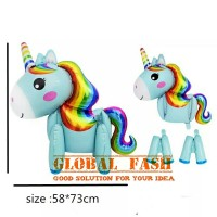 Standing balon unicorn biru / unicorn 3D full body / standing unicorn