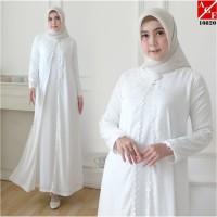 AGNES Baju Gamis Wanita Gamis Brukat Gamis Putih Busana Muslim 10820