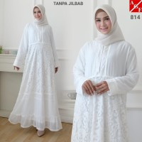 AGNES Baju Gamis Wanita / Gamis Brukat / Gamis Putih / Baju Muslim 814