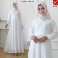 AGNES Baju Gamis Wanita / Gamis Brukat / Gamis Putih / Baju Muslim 815