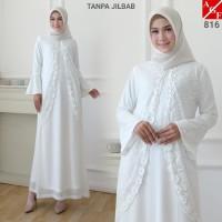 AGNES Baju Gamis Wanita / Gamis Brukat / Gamis Putih / Baju Muslim 816