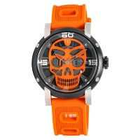 Expedition EXF-6722-MHRTBBAOR Man Skeleton Dial Orange Rubber Strap