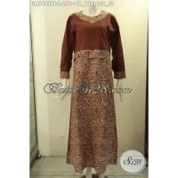 Baju Gamis Bahan Batik Modern Model Resleting Belakang Size L GM9402PL