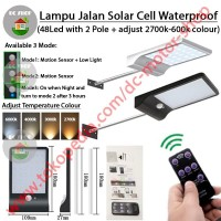 Lampu jalan 48 LED Tenaga Surya Solar Panel Cell Sensor Gerak + Remote