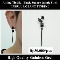 Anting Tindik Cowok Pria - Black Square dangle Stick
