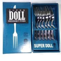 SUPER DOLL Garpu Kue Kecil Stainless Steel Dessert Fork isi 6 Pcs