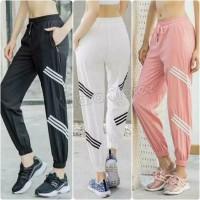 celana jogger stripe legging sport senam olahraga gym fitness wanita
