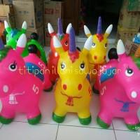 Mainan Kuda Jumping Unicorn - Hewan Tunggang Karet Tanduk Anak Edukasi